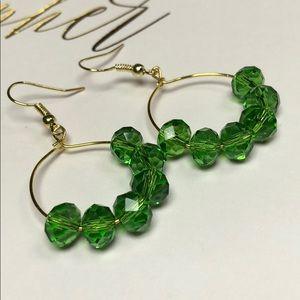 🌴Handmade Green Crystal Beaded Boho Hoop Earrings